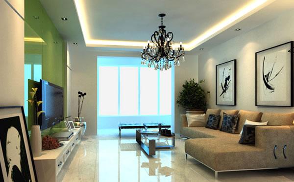 这是一套无论是色调还是造型都贯彻简约风的客厅装修效果图:先从吊顶来看,线条简洁,除去了复杂的造型,但依旧满足了人们对其基本的需求。其实,在沙发的选择上,选择与墙壁色的同色系沙发,让整个客厅都显得素雅起来,没有了多余的色彩跳跃感,眼睛就能得到极大的放松;虽说这是一款简约风格的客厅装修效果图,但他也有自己的夺人眼球的地方--挂画,挂画的内容是个随心情而动的东西,不同的心情搭配不同的画,就如不同的天气配不同的衣服一样。